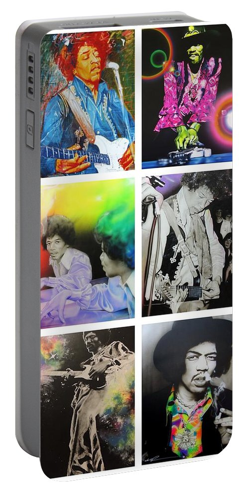 Jimi Hendrix Portable Battery Charger featuring the painting Jimi Collage by Christian Chapman Art