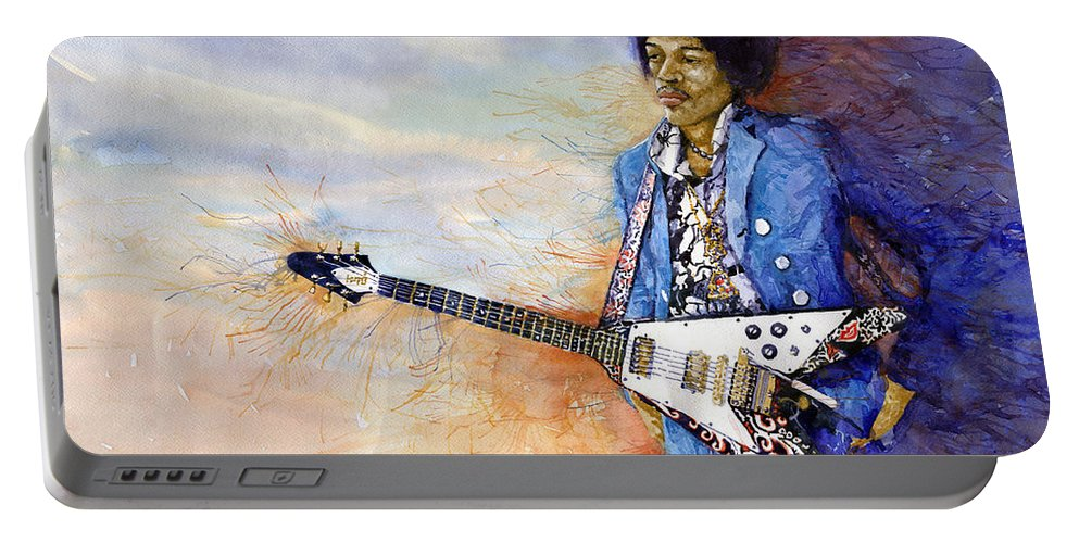 Watercolor Portable Battery Charger featuring the painting Jimi Hendrix 10 by Yuriy Shevchuk