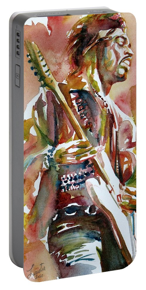Jimi Portable Battery Charger featuring the painting Jimi Hendrix Playing The Guitar Portrait.3 by Fabrizio Cassetta