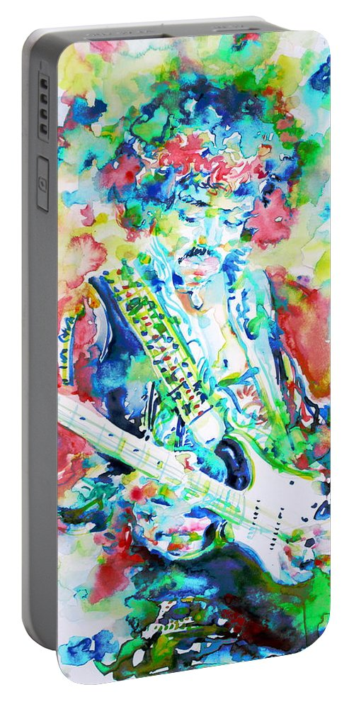 Jimi Portable Battery Charger featuring the painting Jimi Hendrix Playing The Guitar.2 -watercolor Portrait by Fabrizio Cassetta