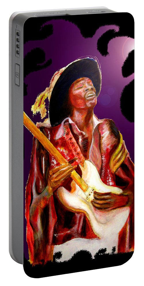 Rock Portable Battery Charger featuring the painting Jimi hendrix variations in Purple and Black by Tom Conway