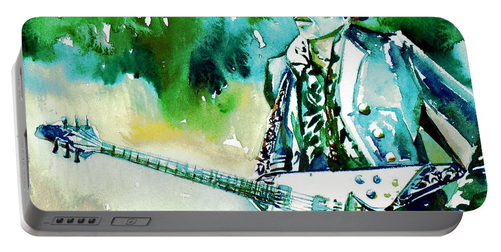 Jimi Portable Battery Charger featuring the painting Jimi Hendrix With Guitar by Fabrizio Cassetta