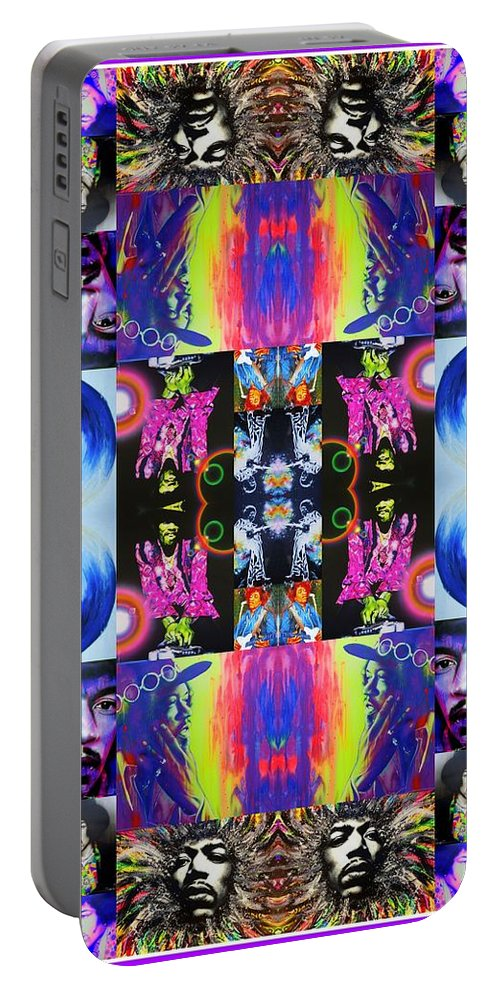 Jimi Hendrix Portable Battery Charger featuring the painting Jimi Kaleidoscope I by Christian Chapman Art