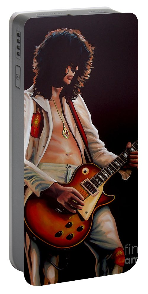 Jimmy Page Portable Battery Charger featuring the painting Jimmy Page in Led Zeppelin Painting by Paul Meijering