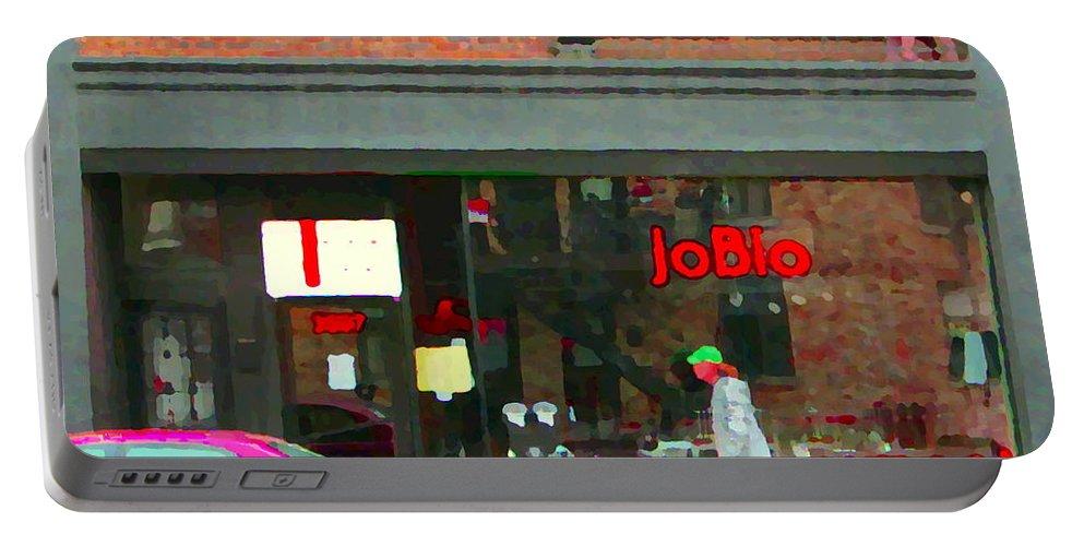 Restaurants Portable Battery Charger featuring the painting Joblo Restaurant Steakhouse Rue Wellington Verdun Montreal Cafe City Scenes Carole Spandau by Carole Spandau