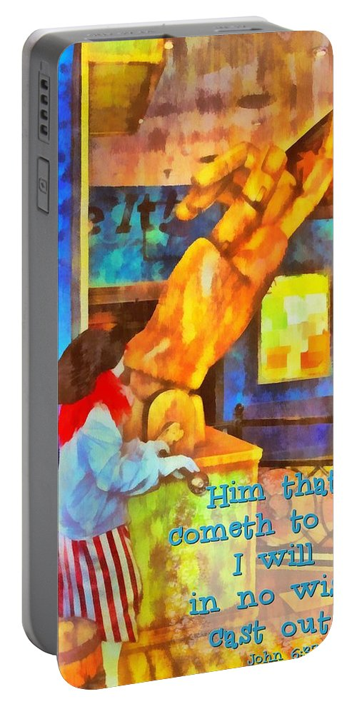 Jesus Portable Battery Charger featuring the digital art John 6 37 by Michelle Greene Wheeler
