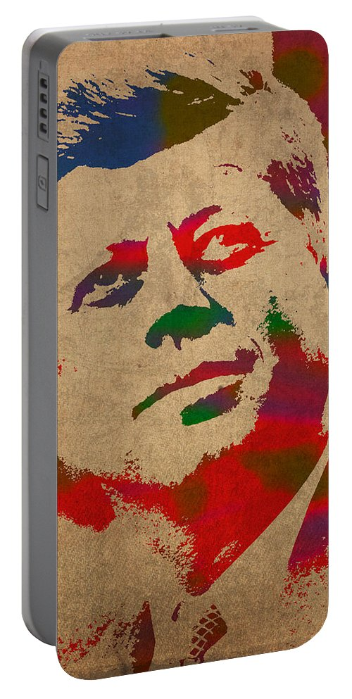 John F Kennedy President Jfk Watercolor Portrait On Worn Distressed Canvas Portable Battery Charger featuring the mixed media John F Kennedy Jfk Watercolor Portrait On Worn Distressed Canvas by Design Turnpike