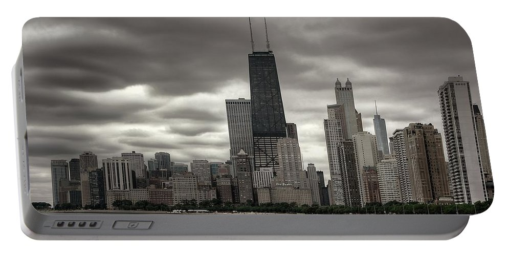 Chicago Portable Battery Charger featuring the photograph John Handcock Building From The Lake Shore by Ken Smith