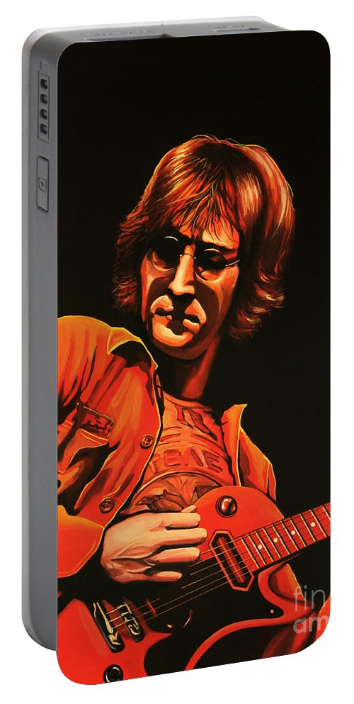 John Lennon Portable Battery Charger featuring the painting John Lennon Painting by Paul Meijering