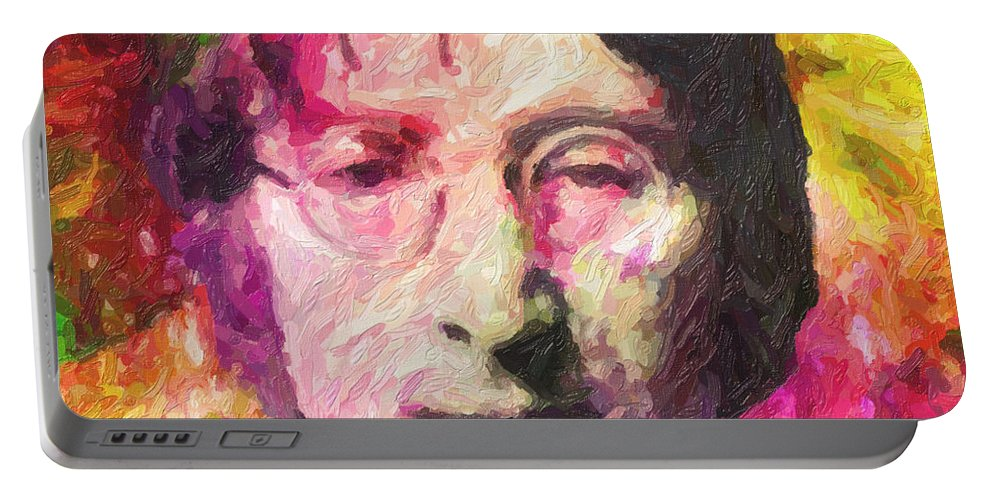 John Lennon Portable Battery Charger featuring the painting John Lennon by Zapista OU
