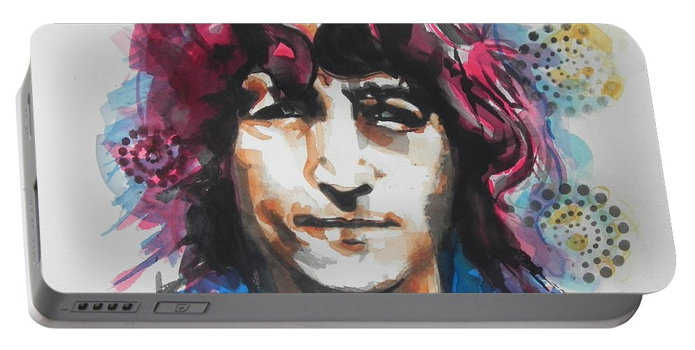 Watercolor Painting Portable Battery Charger featuring the painting John Lennon..up Close by Chrisann Ellis