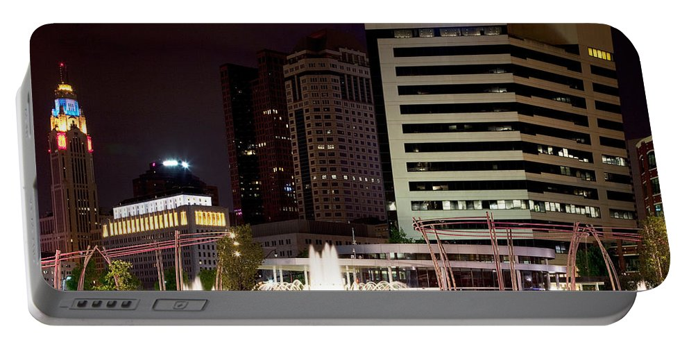 Columbus Portable Battery Charger featuring the photograph John W Galbreath Bicentennial Park by Bill Cobb