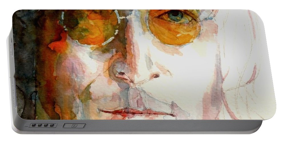 John Lennon Portable Battery Charger featuring the painting John Winston Lennon by Paul Lovering