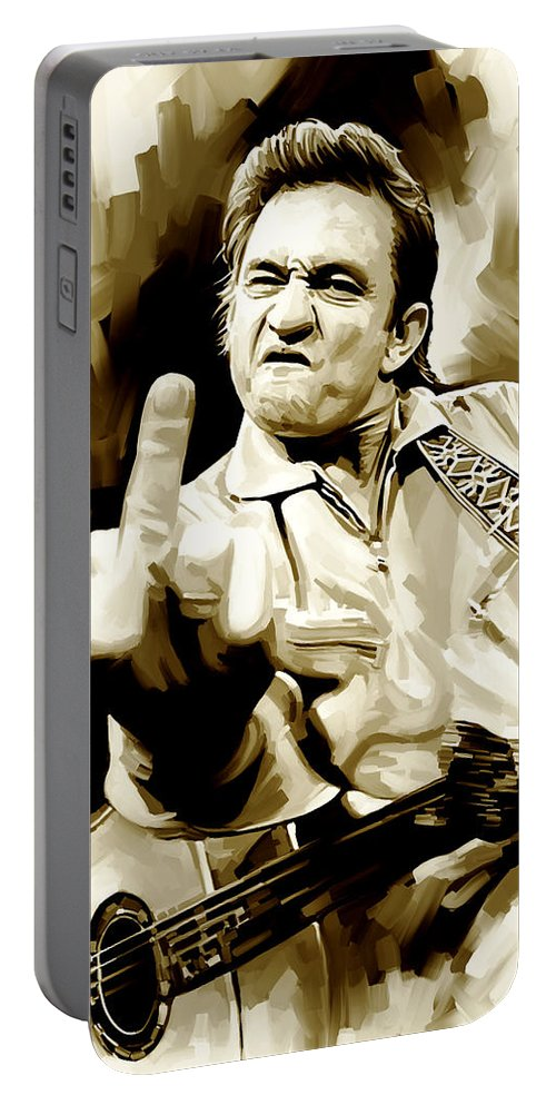 Johnny Cash Paintings Portable Battery Charger featuring the painting Johnny Cash Artwork 2 by Sheraz A