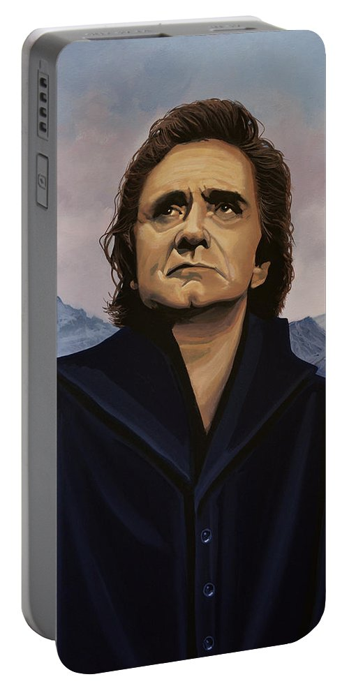 Johnny Cash Portable Battery Charger featuring the painting Johnny Cash Painting by Paul Meijering