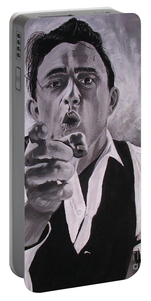 Portraits Portable Battery Charger featuring the painting Johnny Cash Portrait by M Oliveira