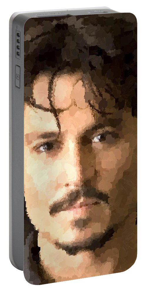 Johnny Portable Battery Charger featuring the painting Johnny Depp Portrait by Samuel Majcen