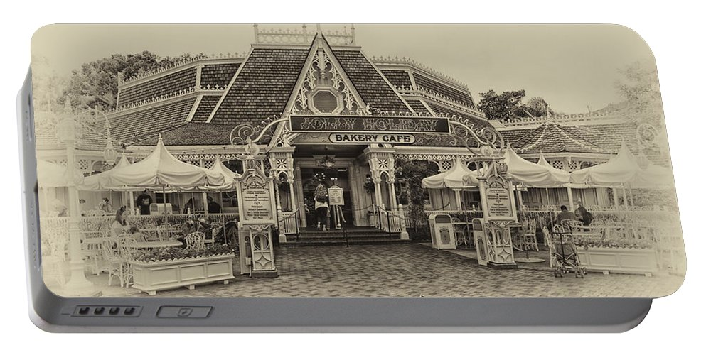 Disney Portable Battery Charger featuring the photograph Jolly Holiday Cafe Main Street Disneyland Heirloom by Thomas Woolworth