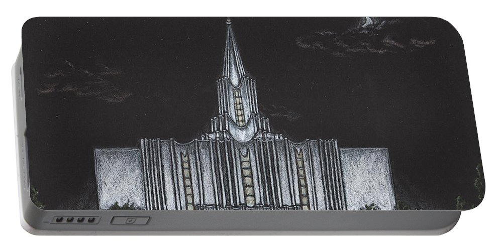 Jordan River Portable Battery Charger featuring the drawing Jordan River Utah Lds Temple by Pris Hardy