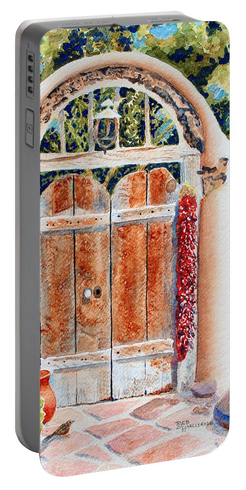 Gate Portable Battery Charger featuring the painting Josefina's Old Gate by Deb Harclerode