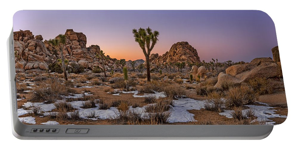 Joshua Tree Portable Battery Charger featuring the photograph Joshua Tree Dusk Panorama by Kelley King