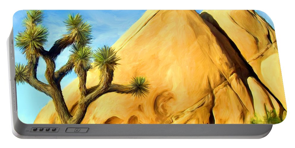 Joshua Tree Portable Battery Charger featuring the painting Joshua Tree Pyramids by Snake Jagger