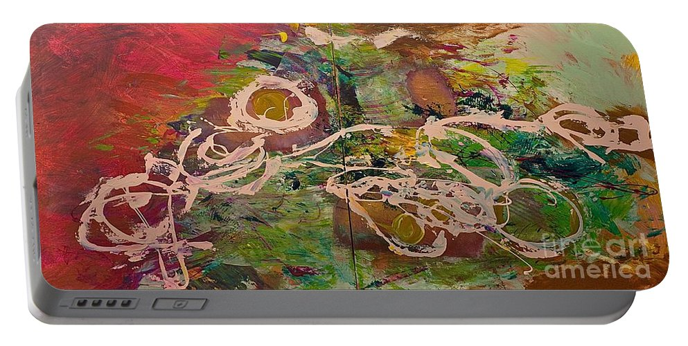 Landscape Portable Battery Charger featuring the painting Journey Forth by Allan P Friedlander