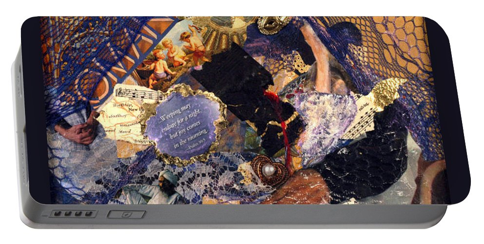Collage Portable Battery Charger featuring the mixed media Joy In The Morning by Gail Kirtz