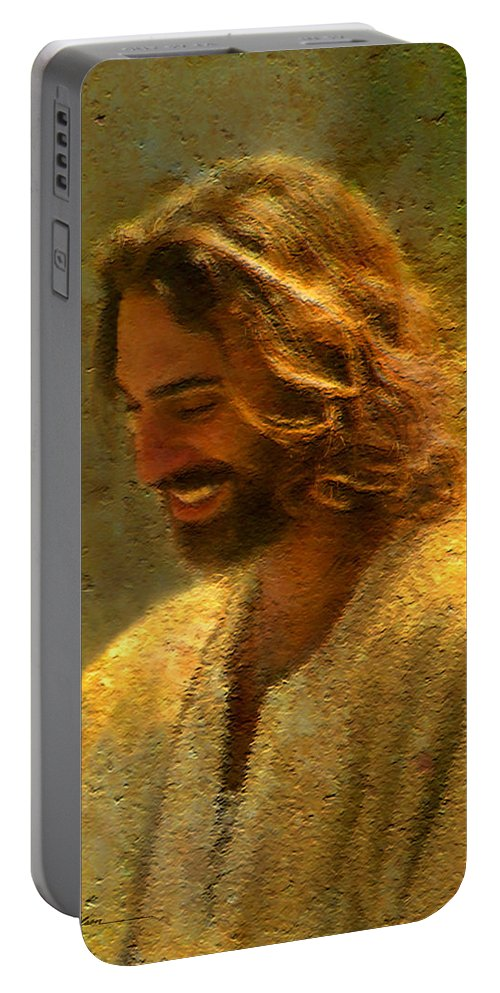 Jesus Portable Battery Charger featuring the painting Joy of the Lord by Greg Olsen