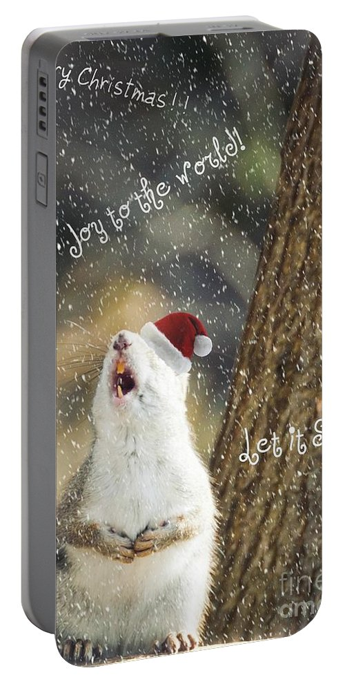 Squirrel Portable Battery Charger featuring the photograph Joy To The World by Cheryl Baxter