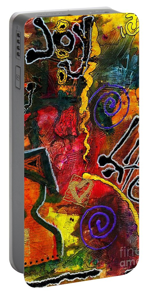 Love Portable Battery Charger featuring the mixed media Joyfully Living Life Anew by Angela L Walker