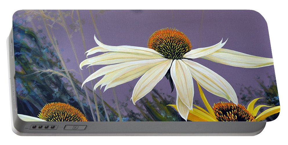 Botanical Portable Battery Charger featuring the painting Jubilant by Hunter Jay