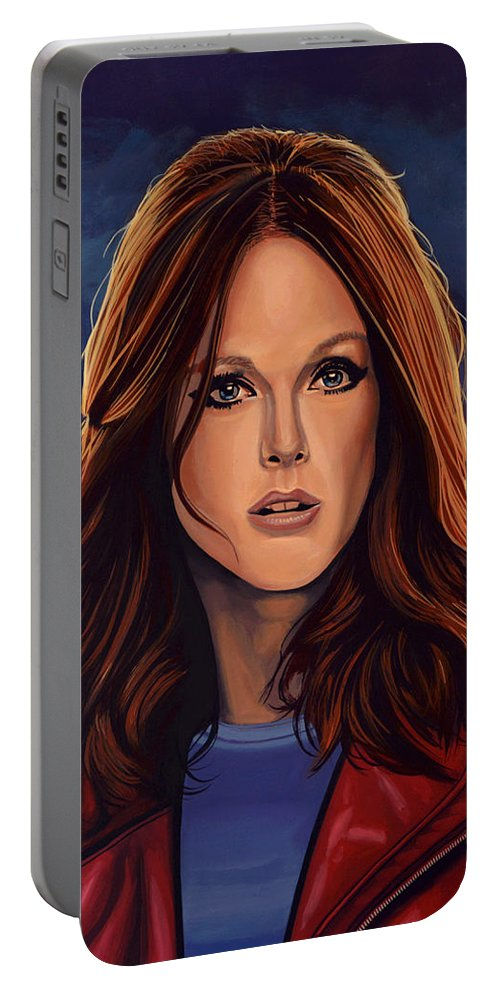 Julianne Moore Portable Battery Charger featuring the painting Julianne Moore by Paul Meijering