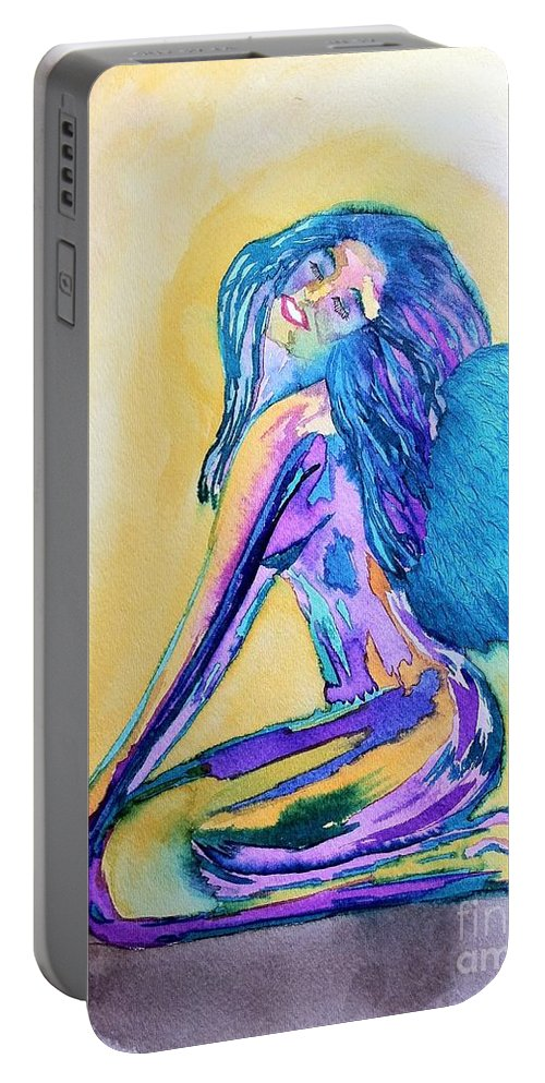 Blue Portable Battery Charger featuring the drawing July by Melissa Darnell Glowacki