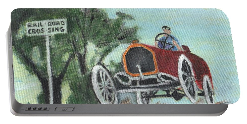 Vintage Cars Portable Battery Charger featuring the painting Jumping The Tracks by Cliff Wilson