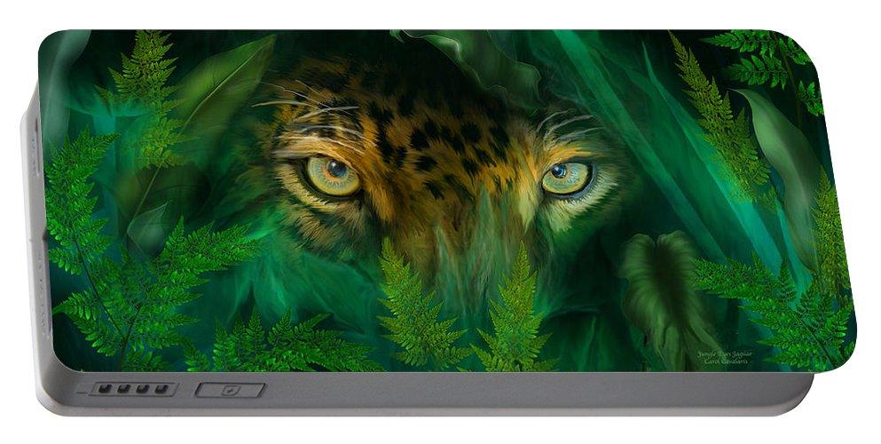 Jaguar Portable Battery Charger featuring the mixed media Jungle Eyes - Jaguar by Carol Cavalaris