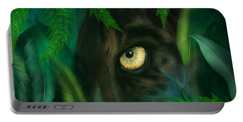 Panther Portable Battery Charger featuring the mixed media Jungle Eyes - Panther by Carol Cavalaris