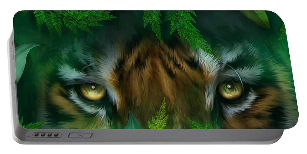 Tiger Portable Battery Charger featuring the mixed media Jungle Eyes - Tiger by Carol Cavalaris