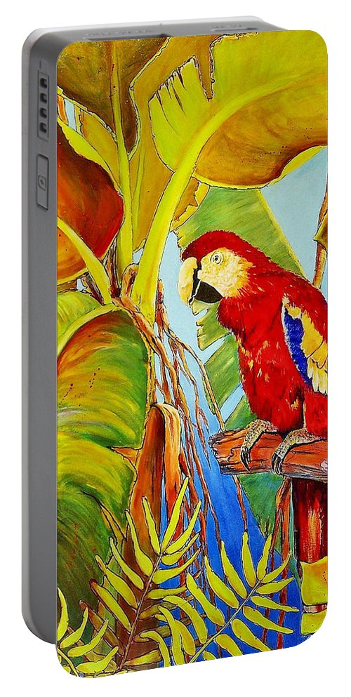 Jaxinecummins Portable Battery Charger featuring the painting Jungle Flame by JAXINE Cummins
