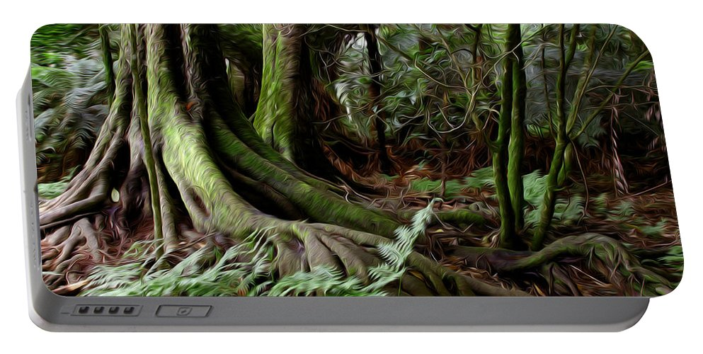 Big Portable Battery Charger featuring the digital art Jungle Trunks3 by Les Cunliffe