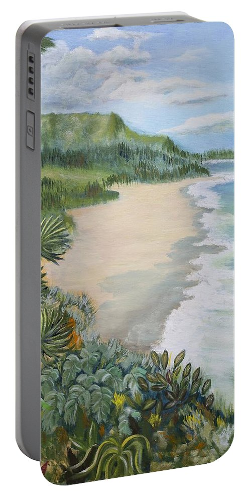Beach Portable Battery Charger featuring the painting Jungle Waves by Gladys Berchtold