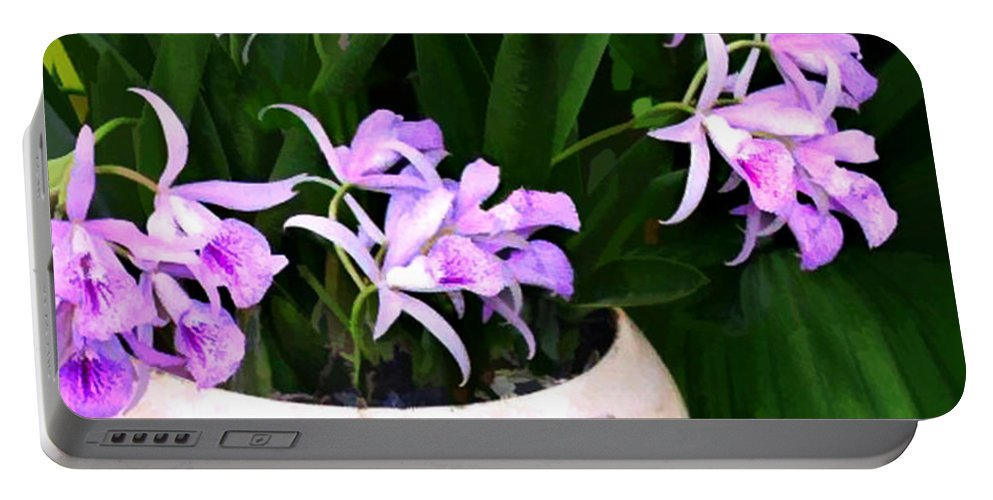 Orchid Portable Battery Charger featuring the painting Just A Bowl Of Cattleyas by Elaine Plesser
