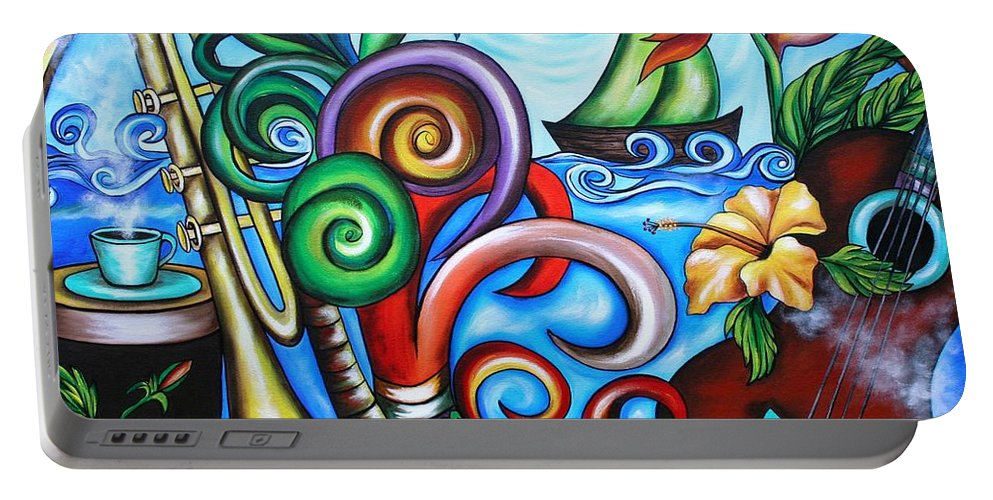 Cuba Portable Battery Charger featuring the painting Just A Day In Paradise by Annie Maxwell