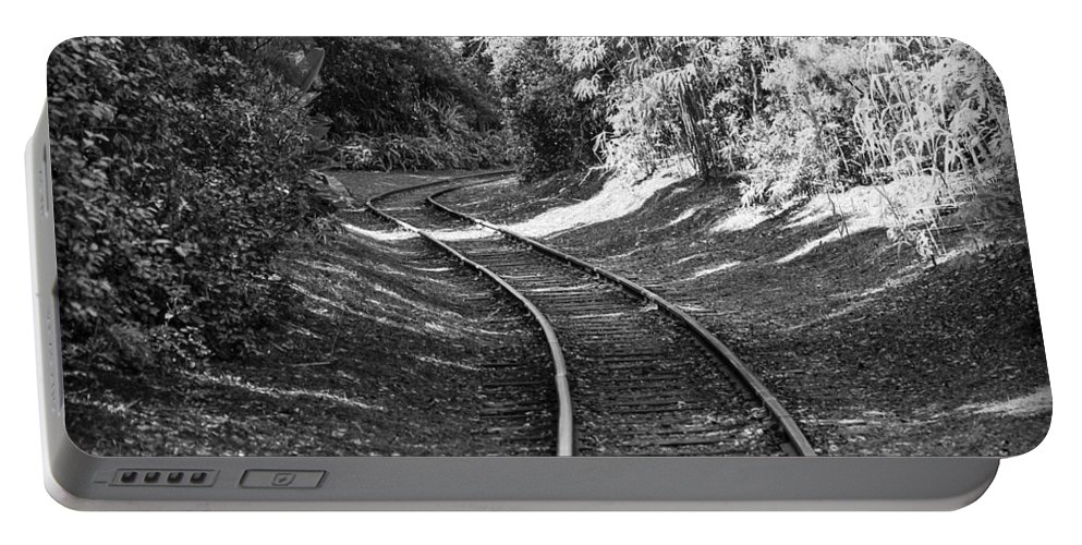 Railroad Portable Battery Charger featuring the photograph Just Around The Corner by Carolyn Marshall