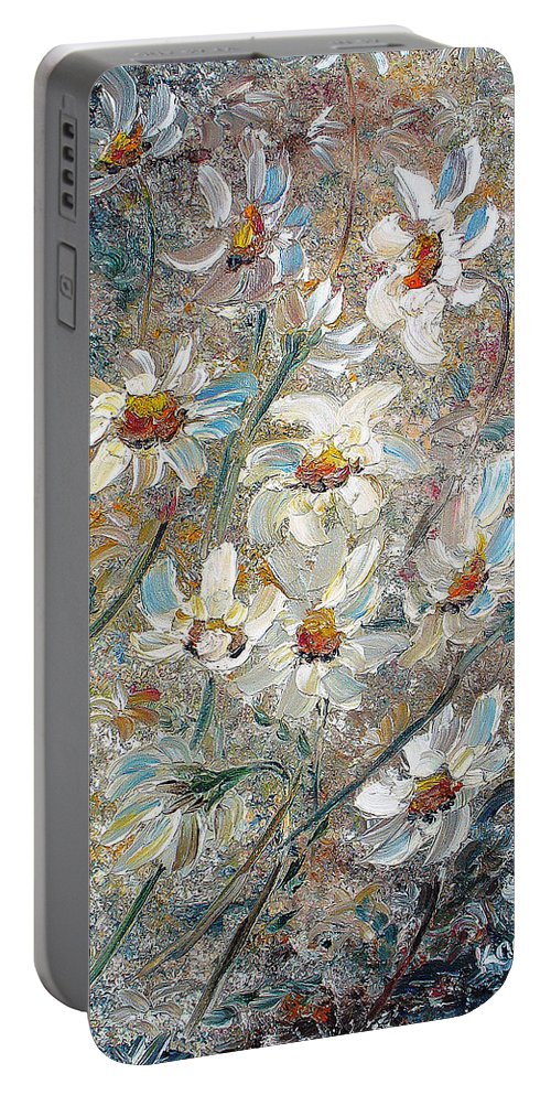 Daisies Painting Abstract Flower Painting Botanical Painting Bloom Greeting Card Painting Portable Battery Charger featuring the painting Just Dasies by Karin Dawn Kelshall- Best