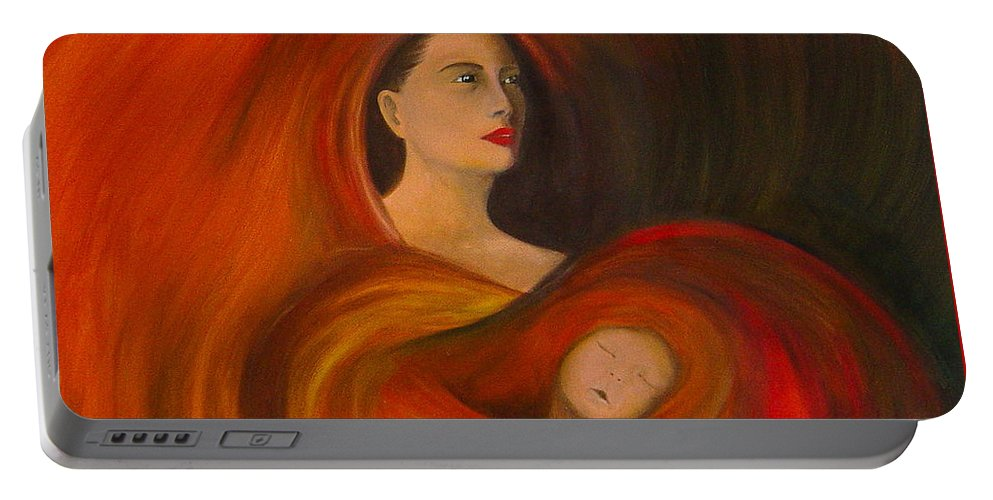 Verve Portable Battery Charger featuring the painting ..just Love.. by Fanny Diaz