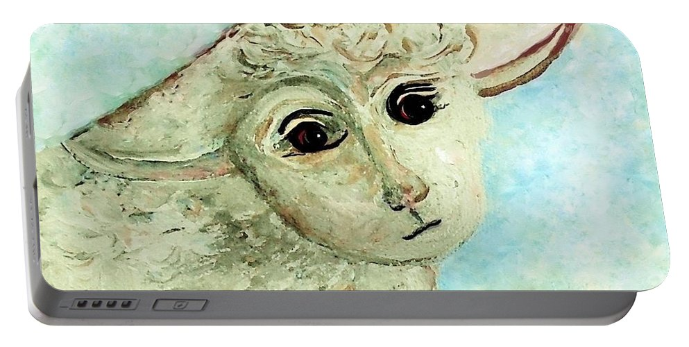 Lamb Portable Battery Charger featuring the painting Just One Little Lamb by Eloise Schneider Mote