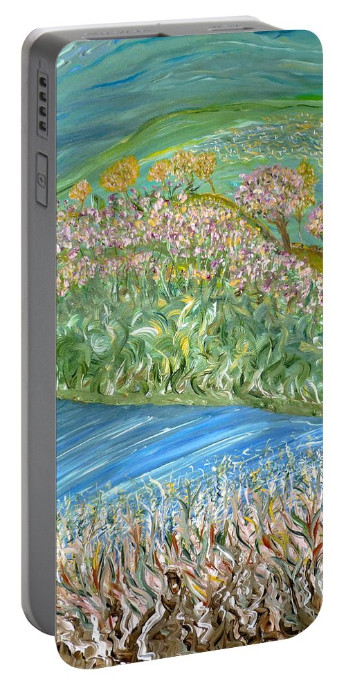 Whimsical Outdoor Scene Portable Battery Charger featuring the painting Just One Look by Sara Credito