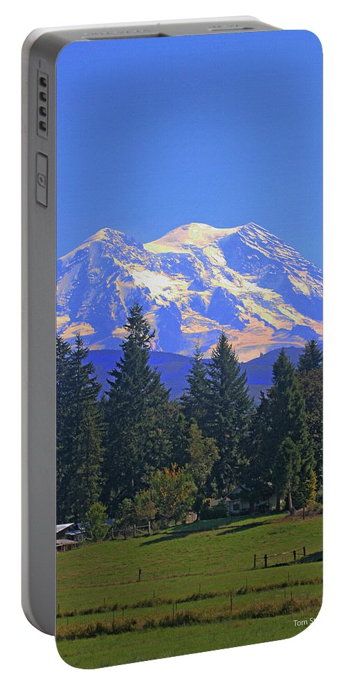 Just Over The Hill Portable Battery Charger featuring the photograph Just Over The Hill Mt. Rainier by Tom Janca