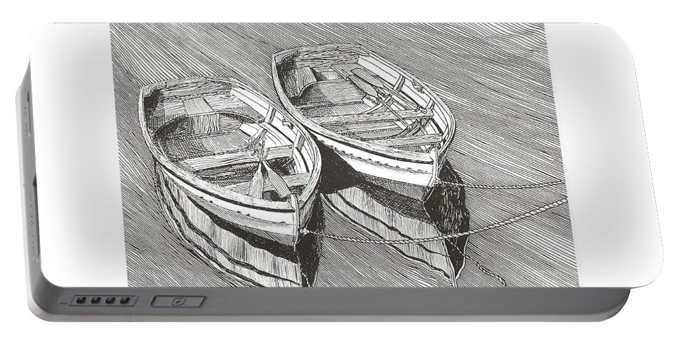 Pen @ Ink Dinghy Art Portable Battery Charger featuring the drawing Two Dinghy Friends Just The Two Of Us by Jack Pumphrey